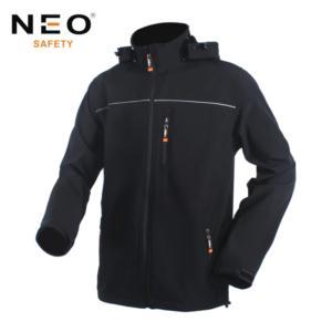 Classic Style Black Softshell Jacket with Detachable Hood