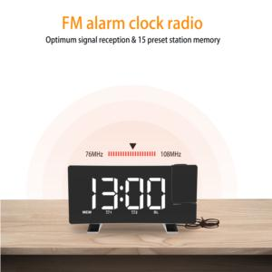 High Quality 5 Inch Digital Display Wake up and Sleeper Function Alarm Clock FM Radio With Projection