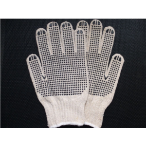 800g/dozen natural white knitted cotton glove with one side pvc dots