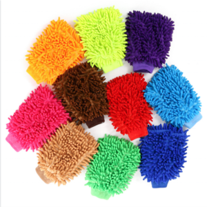 Hot sale super soft double side household car cleaning tools microfiber chenille glove colorful car wash glove Coral velvet Car Wash gloves