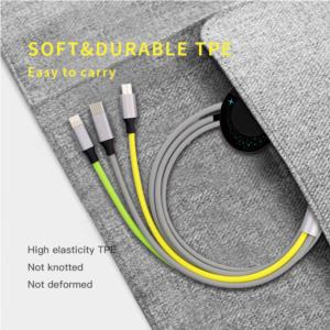 Multifunction USB Charger Cables  4 in 1 Nylon Braided Lightning/Micro USB/Type C /Smart Watch