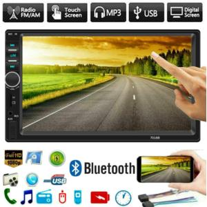 7 Inch Double Din Car Stereo MP5 MP3 Player with Bluetooth/AM/FM/USB/AUX in/Rear View/Mirror Link/Camera  Support Steering Wheel Control