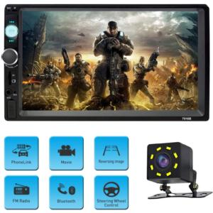 7010B 7 Inch Double Din Car Stereo MP5 MP3 Player with Bluetooth/AM/FM/USB/AUX in/Rear View/Mirror Link/Camera  Support Steering Wheel Control
