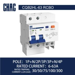 CQB2HL-63 10kA Residual Current Operated Circuit Breaker with Over-current Protection (Electronic)