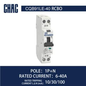 CQB91LE-40 6kA Residual Current Operated Circuit Breaker with Over-current Protection (Electronic)