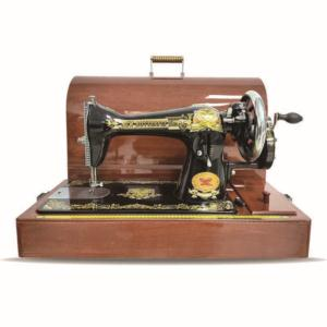 Domestic sewing machine with case