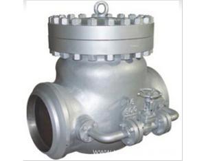 Cast check valve with bypass valve
