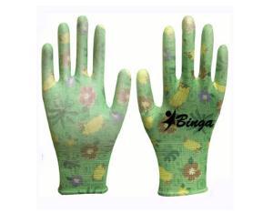 PU Printing 13G Polyester Safety Glove