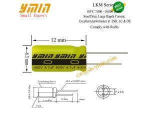 General Purpose Capacitor Ymin LKM Series Aluminum Electrolytic Capacitor RoHs