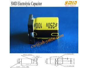 105°C 6000 Hours 250V 100uF SMD Aluminium Electrolytic Capacitor for Solar LED Floodlight RoHS