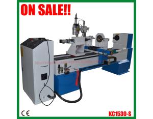 CNC Wood Lathe Machine KC1530-S with double knives and engraving spindle