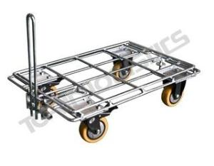 Steel cart for trailing warehouse goods