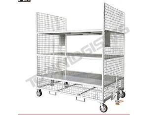 Industrial rolling cage cart warehouse Trolley with three levels