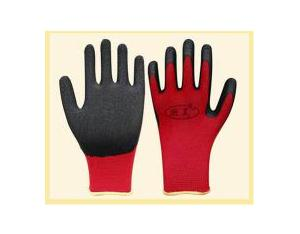 13gauge red polyester latex coated safety working glove