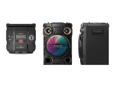 60W Party Speaker With EQ Adjustment/X-BASS/AUX IN/LED Display/Flashing Light/MIC