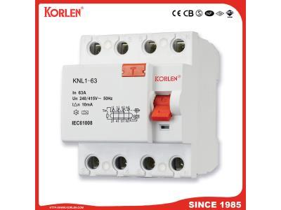 Korlen Residual Current Circuit Breaker RCCB Knl1-63 (F360 Series) with Ce CB 3ka16A 25A 3