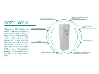 Tubular Gel battery Valve regulated sealed 2V1000AH