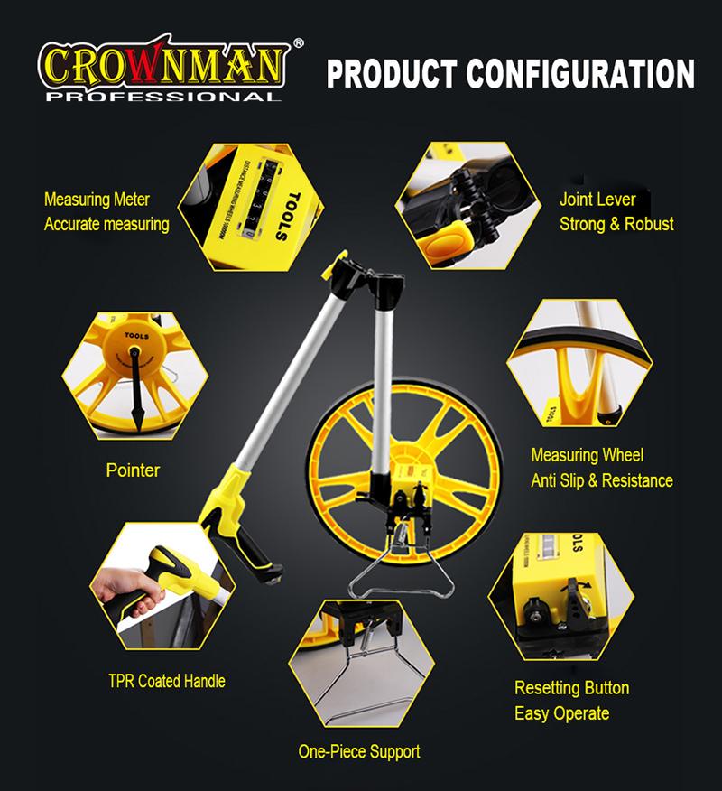 CROWNMAN Foldable Handle Measuring Wheel