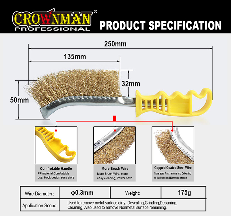 CROWNMAN Steel Wire Brush For Clean Dust Rust Paint Stain