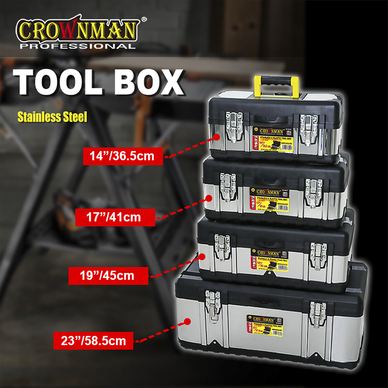 Stainless & Plastic Tool Box With Removal Tray For Tool Storage