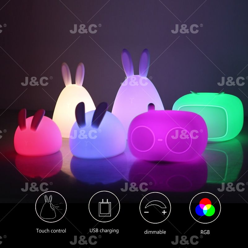 J&C LED Kids light KNL03/04  Rabbit shape silicone lamp  nursery night light for baby color changing lamps for bedrooms gift pat light  with Touch Sensor  3*AA battery use or recargeable battery