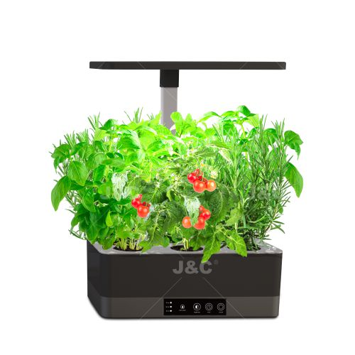 J&C MG-SMART-I SHAPE  indoor smart plant light countertop grow light  planter  with timer & indicator  brightness adjustable  water shortage reminder  height adjustable indoor decoration  gift