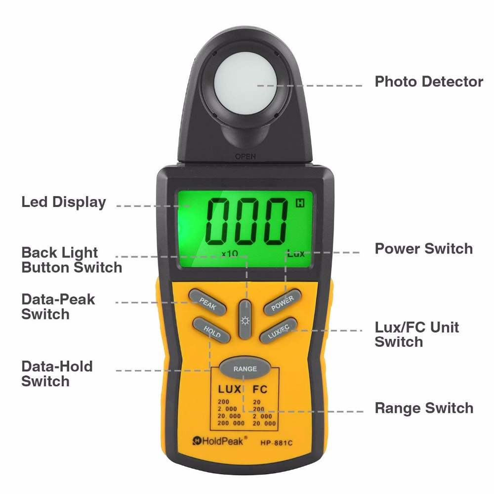 Lux Light Meter with Peak Hold,Lux/FC UnitData Hold and LCD Display