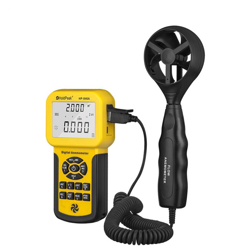 Wind Speed Sensor HoldPeak HP-846A Digital Anemometer Air Volume Measure Instrument Data R