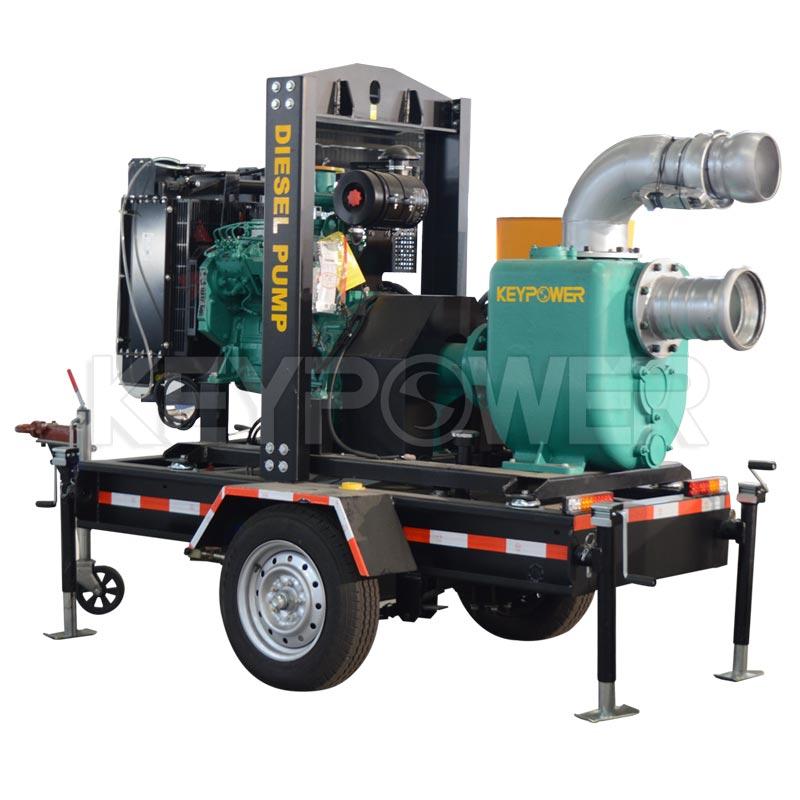 Keypower 8 Centrifugal Self-Priming Dewatering Sewage Diesel Pump Set with trailer