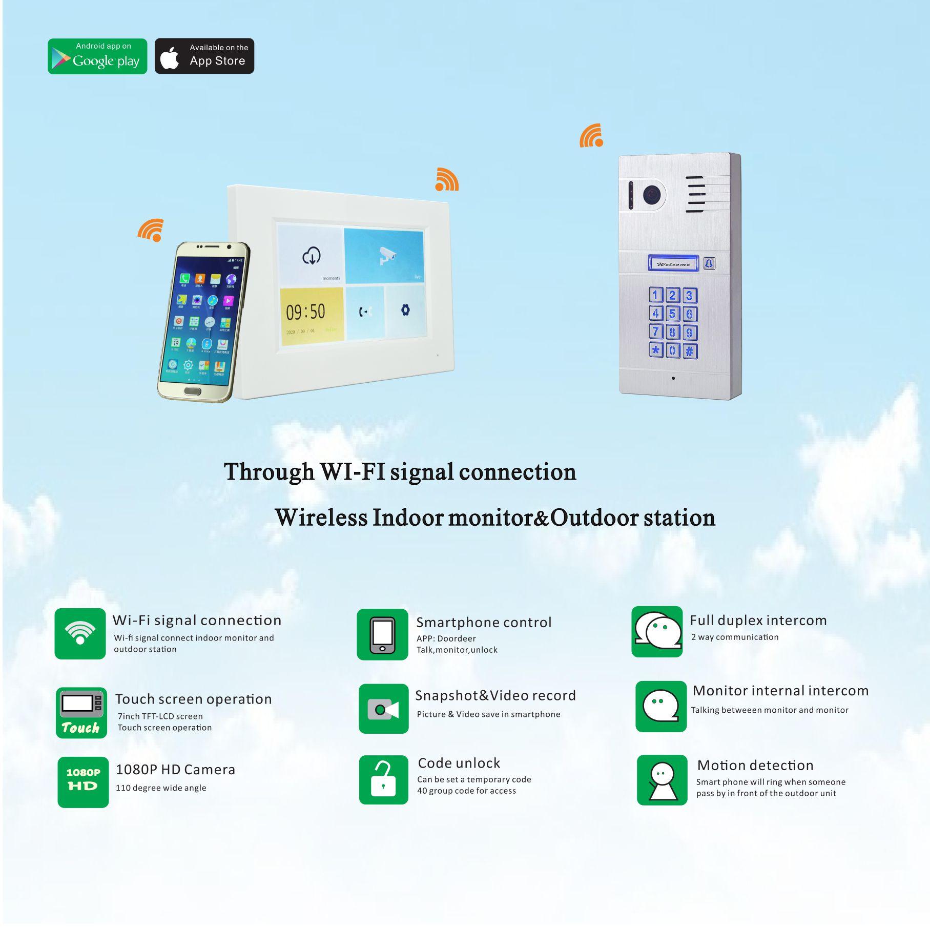 Control your door by smart phone wireless video door phone.