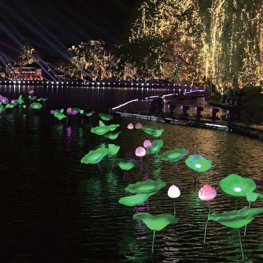 Remote Control Lotus and Leaves Light for theme park water proof with certificates