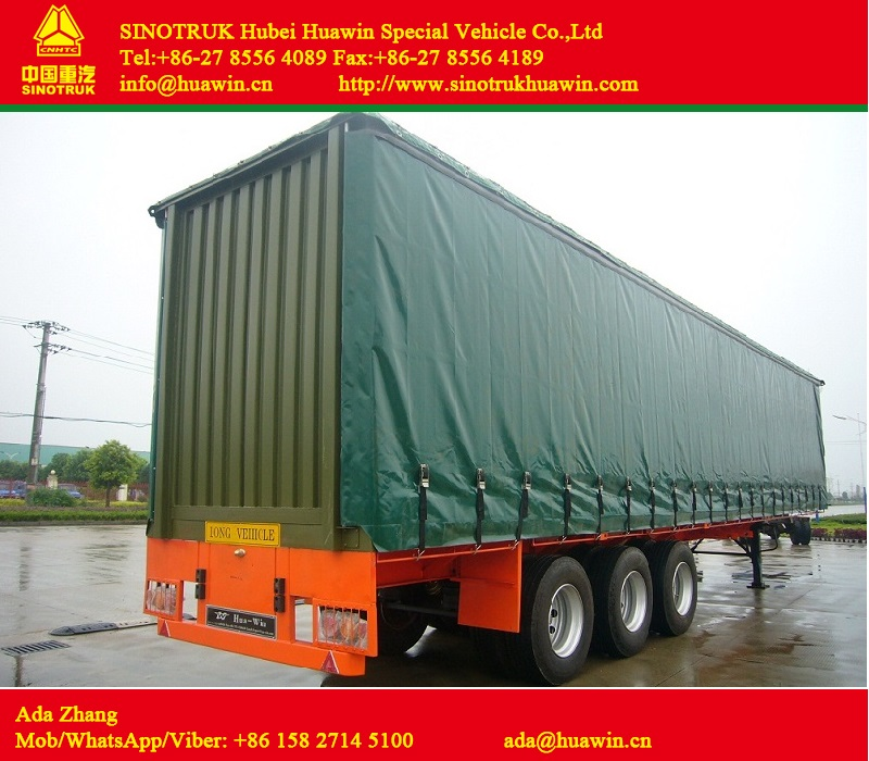 3-Axle Curtain Side Semi Trailer for beer/milk/cola