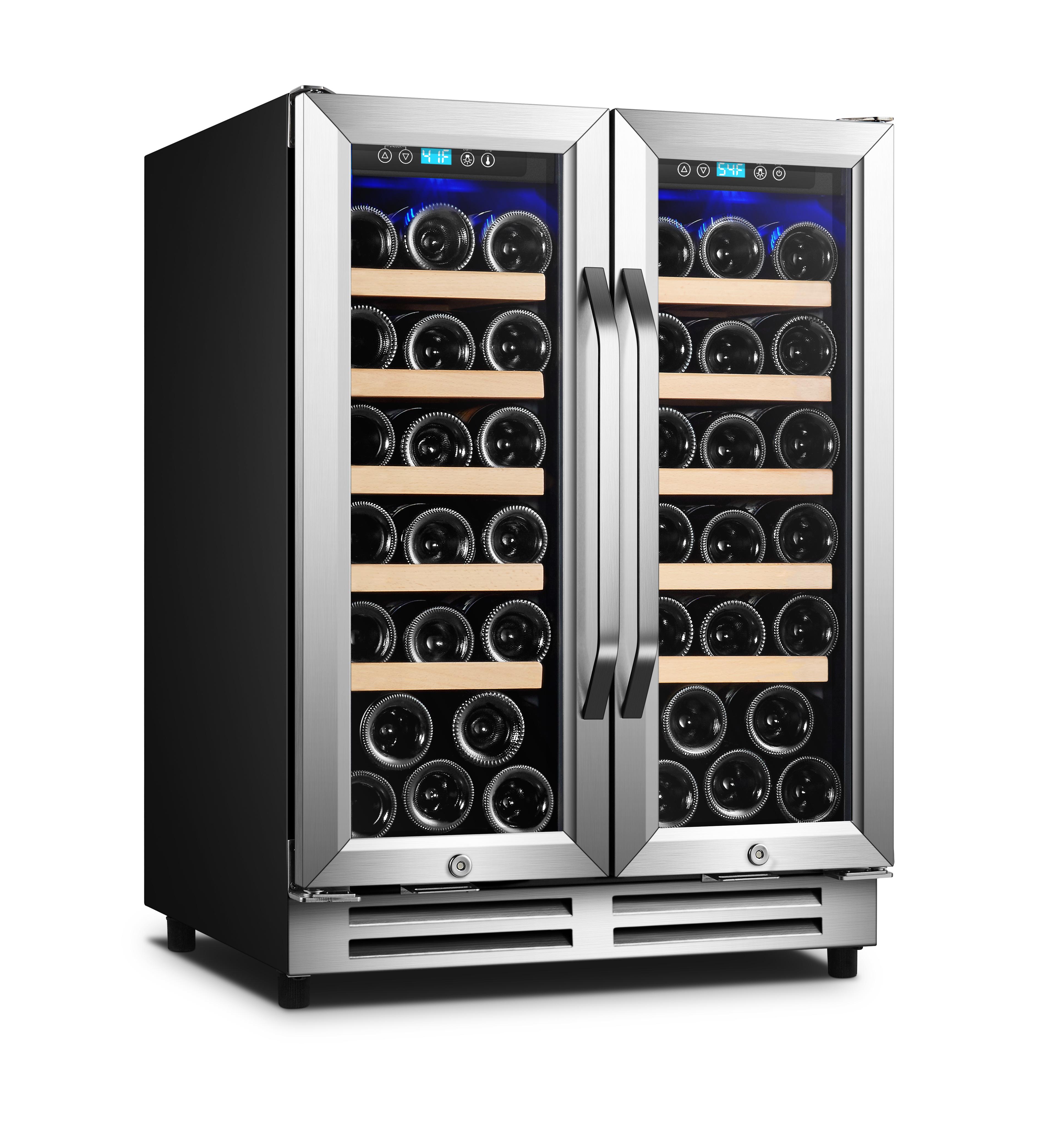 24 inch dual zone french door wine cooler