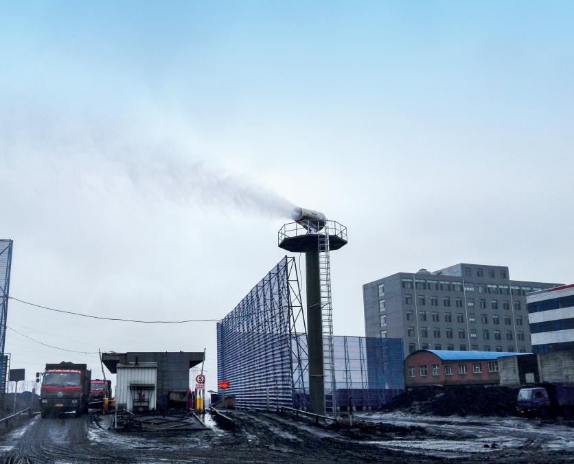 120m high tower sprayer cooling fog gun machine used in coal yard power plant steel works