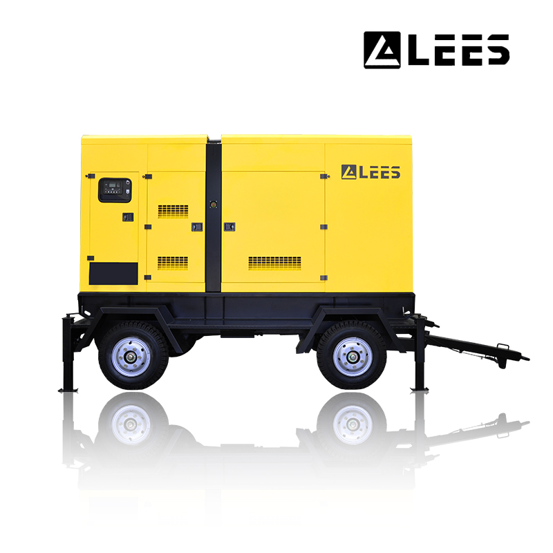 Mobile trailer diesel generator set easy move with four wheels