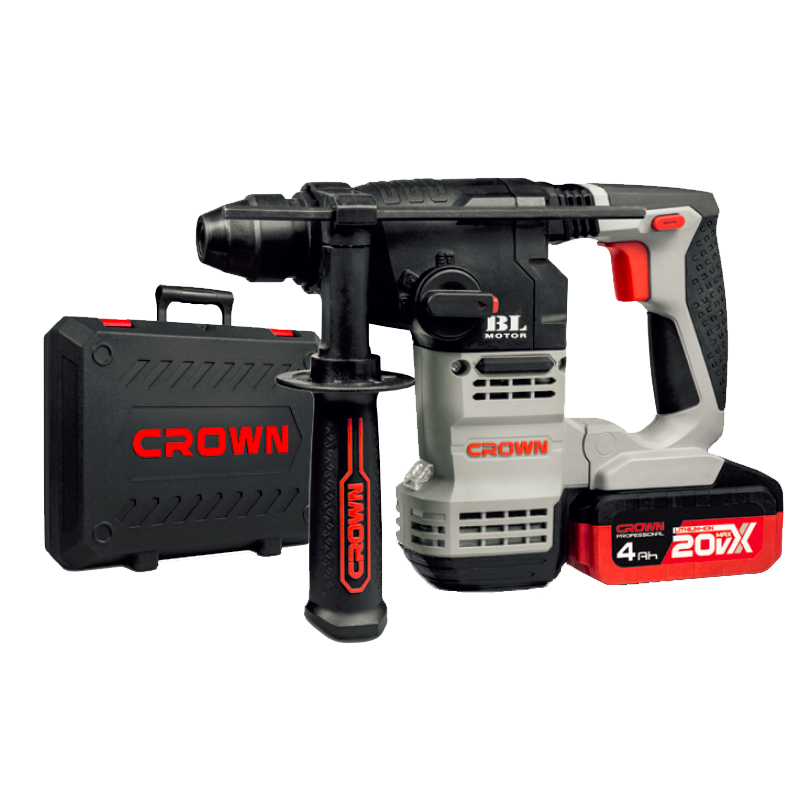 CROWN 20V Cordless Rotary Hammer Drill 4AH Brushless Power Tools CT28001HX-4 BMC
